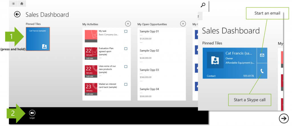 Contact Card in CRM Dynamics for Tablets