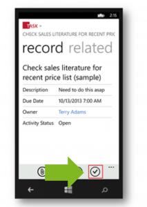 Task en CRM Dynamics Mobile