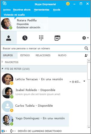 Nueva interface de Skype for Business