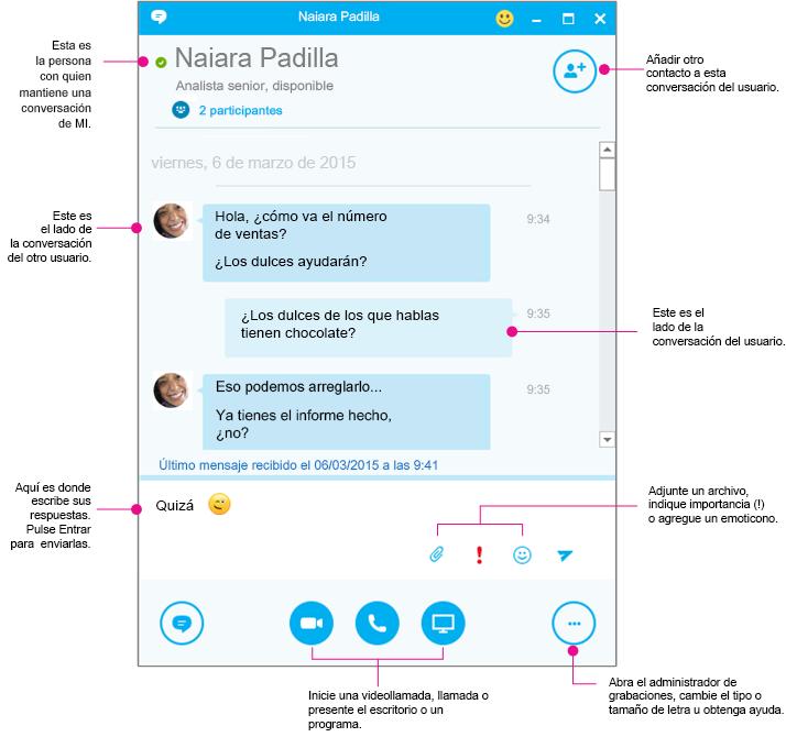 Ventana de conversación de Skype for Business