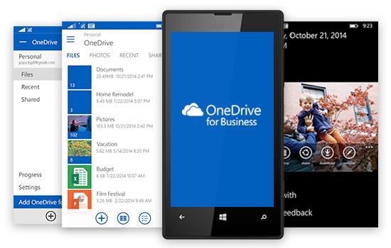 Imagen apps de OneDrive en Windows Phone