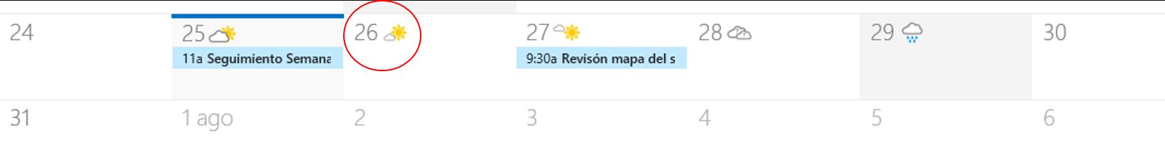 Calendario de Office 365 clima