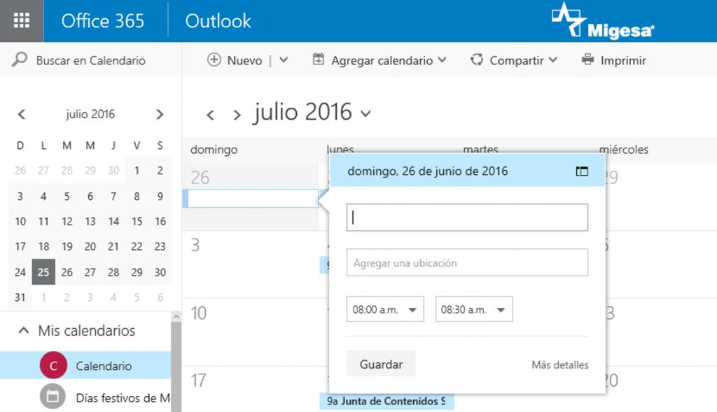 Calendario de Office 365