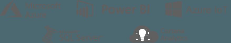 Icono de Azure, Power BI, Azure IoT, SQL Server y Cortana Analytics