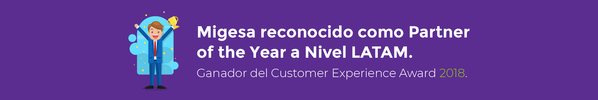 Banner del premio de Migesa como Partner of the Year a Nivel LATAM