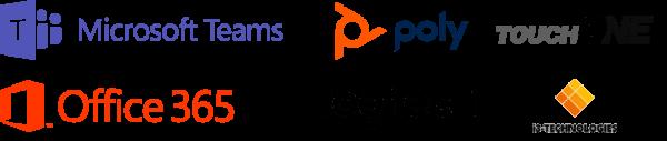 Logotipos de Partners Microsoft Teams, Poly, TouchOne, Office 365, Logitech, i3Touch